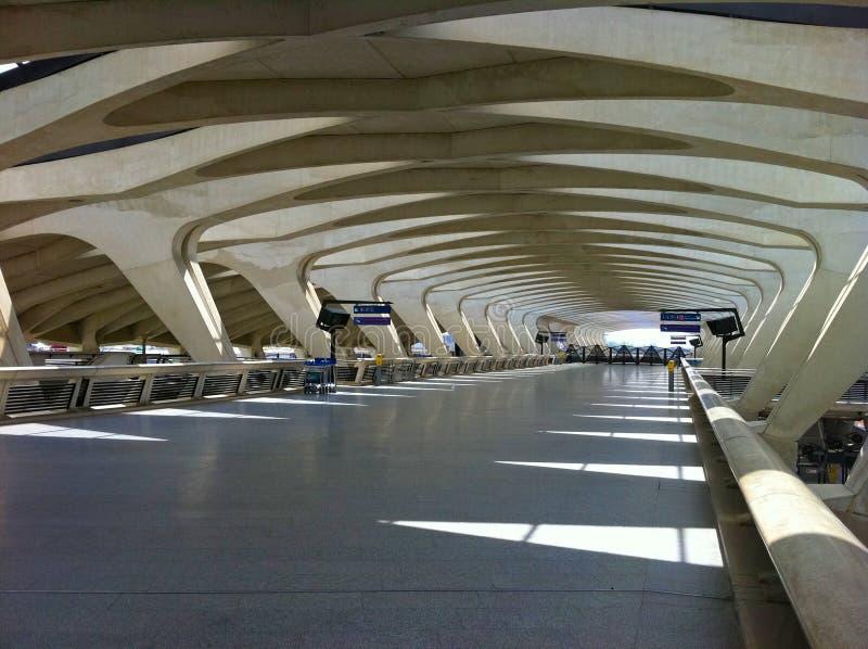 Platform 1 in Saint-Exupery Station. The Saint-Exupery TGV train station in Lyon designed by the Spanish architect Santiago Calatrava stock image