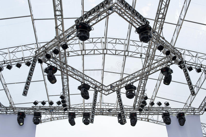 Platform. Metal platform over the stage with lights ready for an outdoor concert royalty free stock images