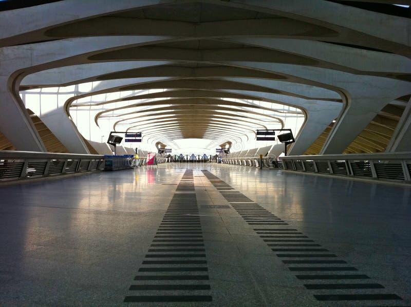 Platform 2 in Saint-Exupery Station. The Saint-Exupery TGV train station in Lyon designed by the Spanish architect Santiago Calatrava stock image