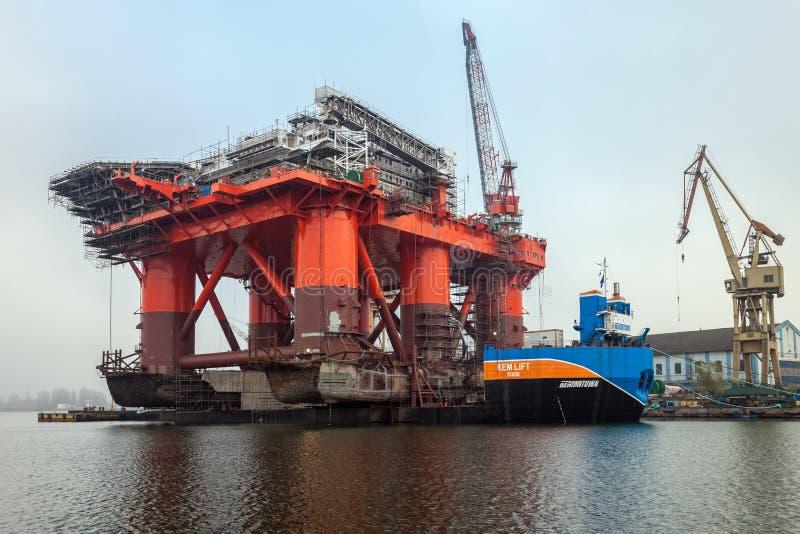 Platform on a barge stock photos