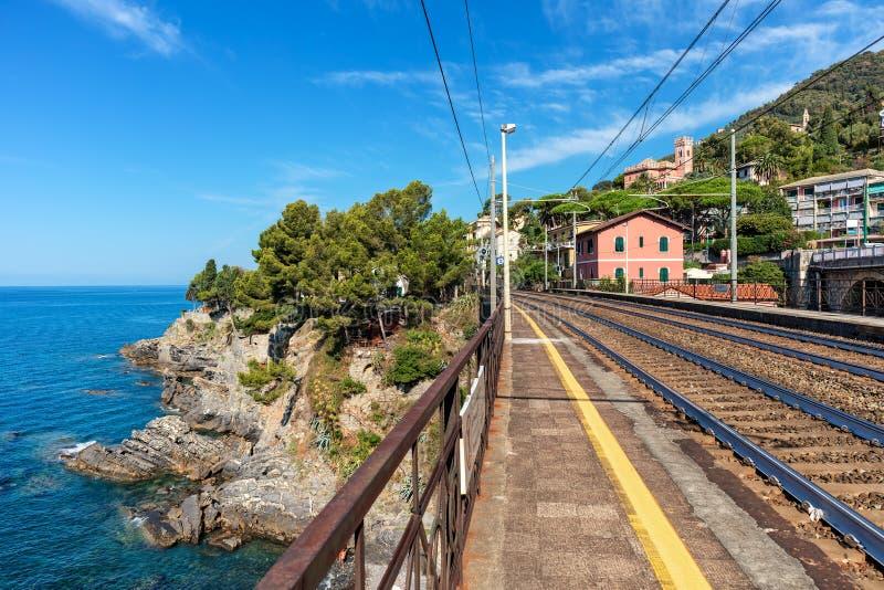Platform en spoorwegsporen langs Middellandse Zee in Italië royalty-vrije stock foto