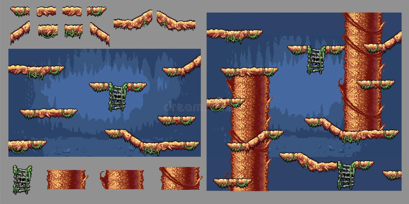 Platform forest tree game pixel art graphics kit, vector illustration royalty free stock photos