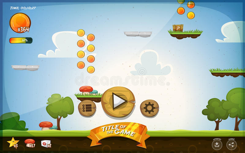 Platform Game User Interface For Tablet. Illustration of a funny graphic platform game user interface design, in cartoon style with basic buttons, icons, status vector illustration