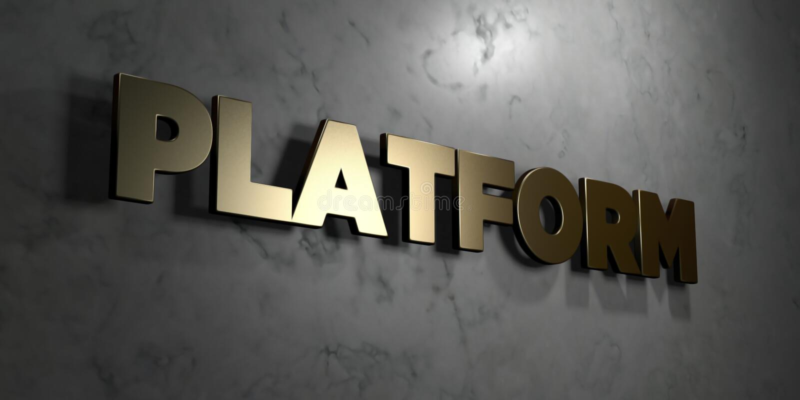 Platform - Gouden teken opgezet op glanzende marmeren muur - 3D teruggegeven royalty vrije voorraadillustratie stock illustratie