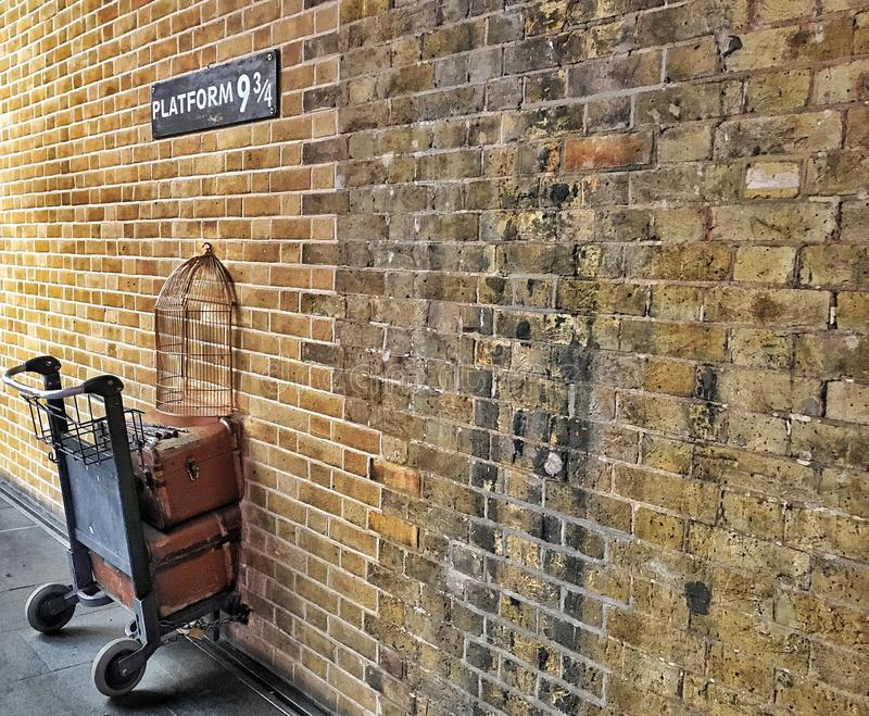 the Luggage Trolley of Harry in the Potter Platform 9¾ at King's Cross Station, London royalty free stock image
