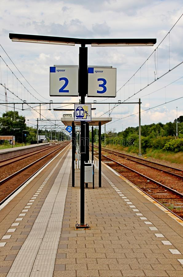 Platform numbers sign at the train station `t Harde royalty free stock images