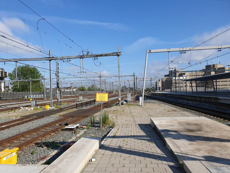 Platform of the renewed trainstation of Utrecht Centraal in the Netherlands. stock photos