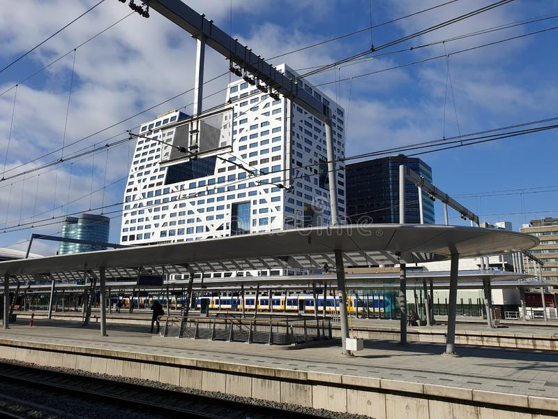 Platform of the renewed trainstation of Utrecht Centraal in the Netherlands. royalty free stock photo
