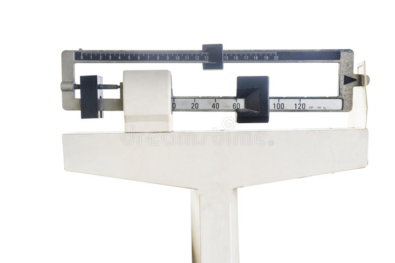 Platform scales iron weighing machine isolated on white stock photos