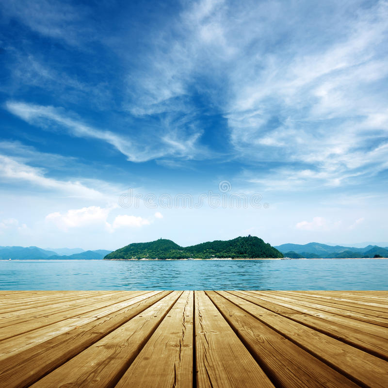 Platform beside sea. Under the blue sky,platform beside sea royalty free stock images