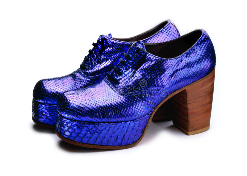 Platform Shoes. Blue snakeskin platform shoes from the 70's royalty free stock photography
