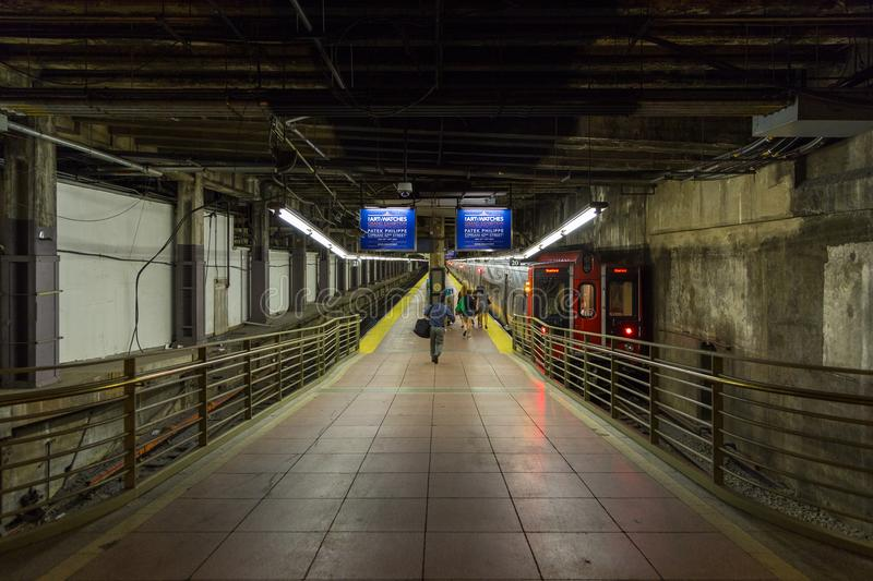 Platform at the station in Grand Central Terminal in New York. New York, NYC, USA- August 27, 2017: Platform at the station in Grand Central Terminal royalty free stock photo