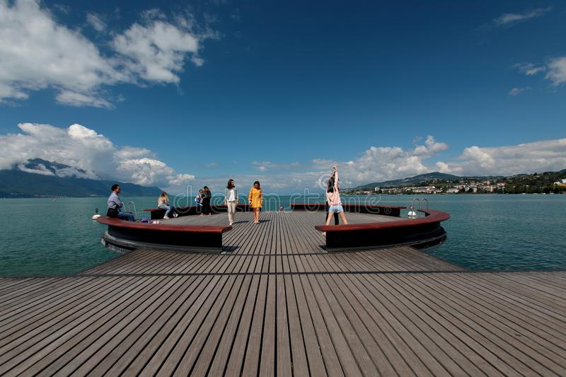 Platform Sur Mer on Lake Geneva. This Platform Sur Mer on Lake Geneva in Switzerland is in the town of Montreux and is right next to the statue of Freddie stock image