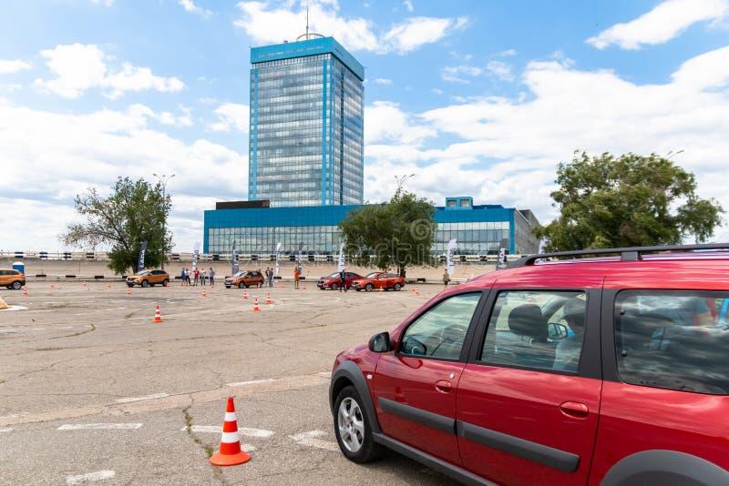 A platform for a test drive of VAZ cars near the AvtoVAZ office building.  royalty free stock photo