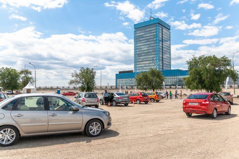 A platform for a test drive of VAZ cars near the AvtoVAZ office building.  stock photo