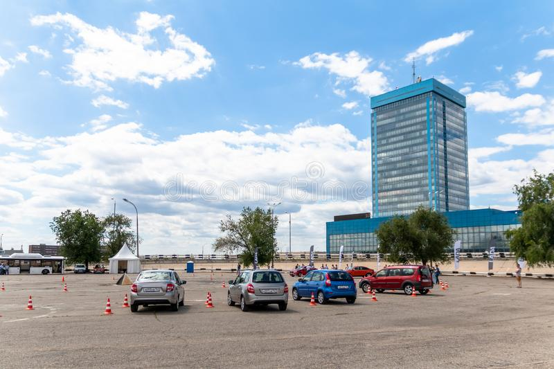 A platform for a test drive of VAZ cars near the AvtoVAZ office building.  royalty free stock image