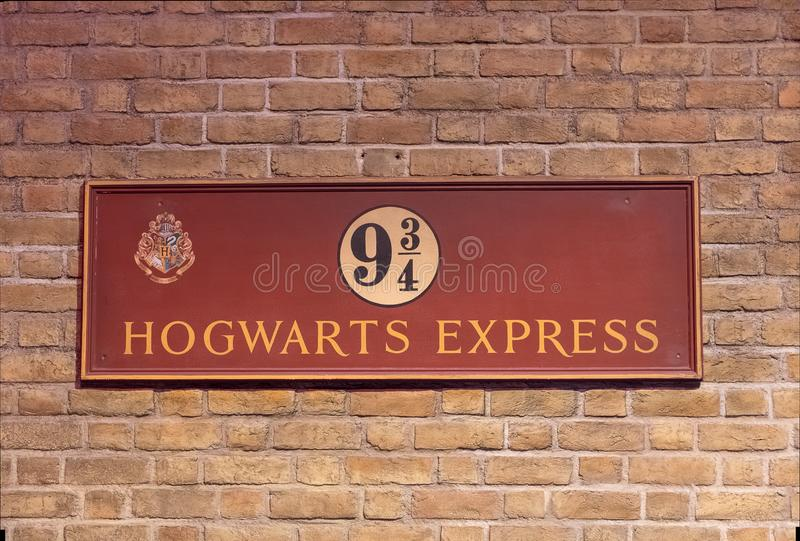 Platform 9 and three quarters sign stock images