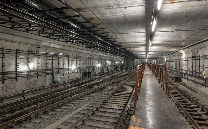 Platform for train driver in the new subway tunnel royalty free stock images