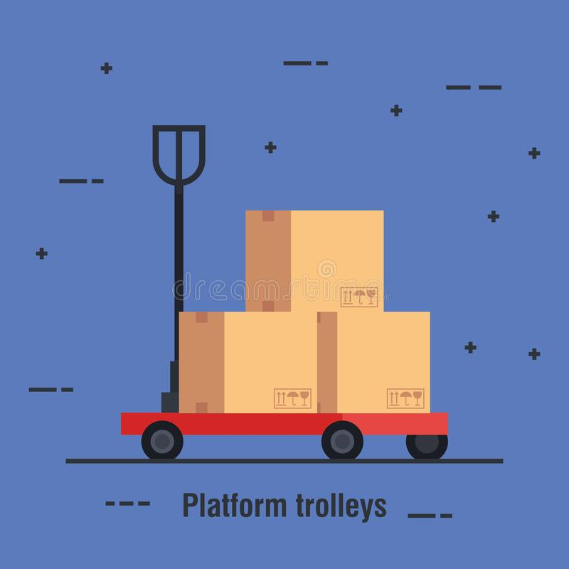 Platform trolleys delivery service icon vector illustration