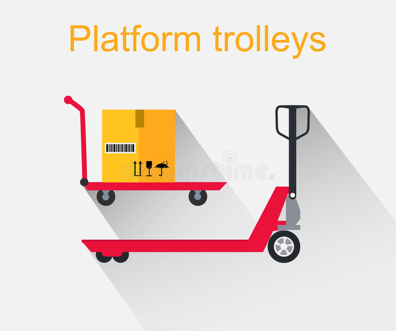 Platform Trolleys Icon Design Style stock illustration