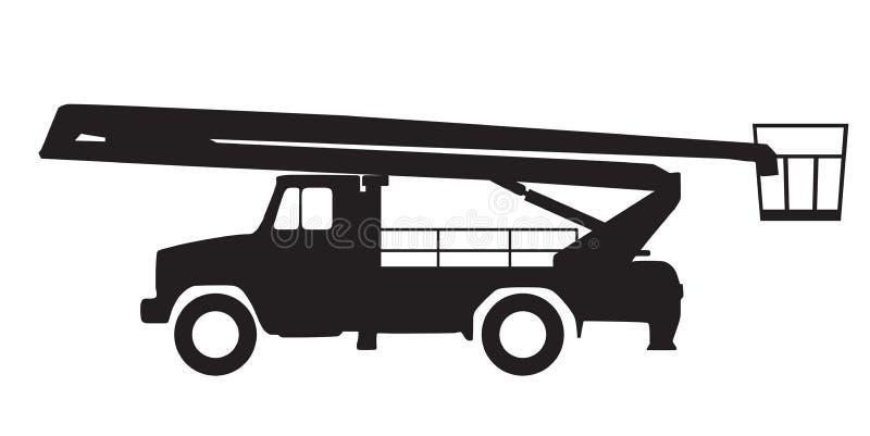 Platform van het silhouet het luchtwerk, vectorillustratie stock foto's