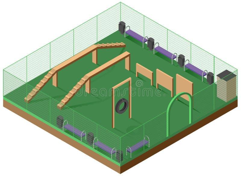 Platform voor het lopen en hond die 3d isometrisch pictogram opleiden Speelplaats voor honden vector illustratie
