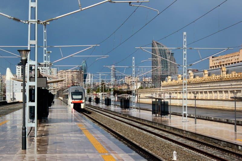 Platforma Baku Środkowa stacja kolejowa w Baku, Azerbejdżan obrazy royalty free