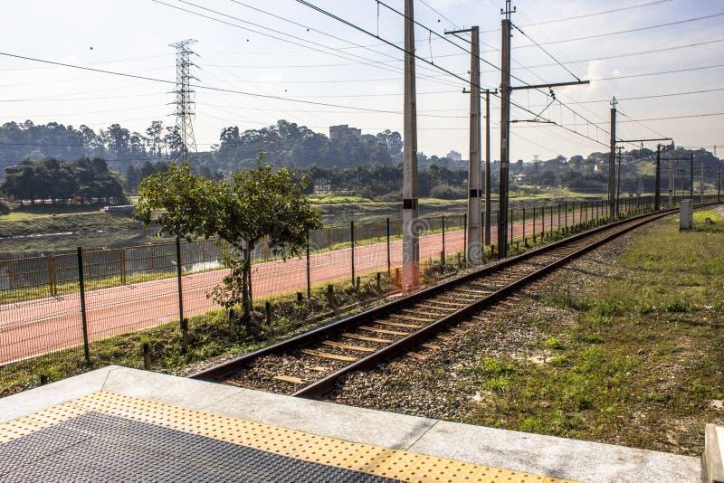 Platforma Sao Paulo metropolita pociągu firma obrazy royalty free