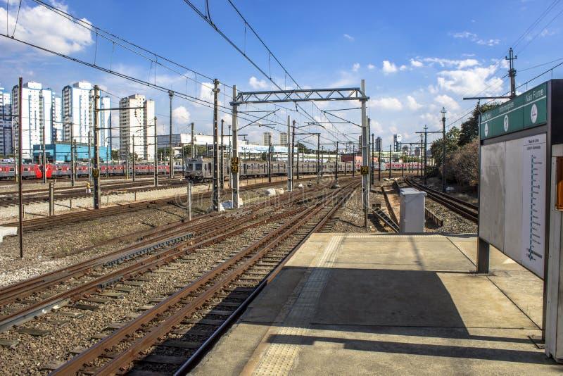 Platforma Sao Paulo metropolita pociągu firma zdjęcie royalty free