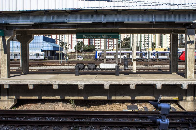 Platforma Sao Paulo metropolita pociągu firma obraz royalty free