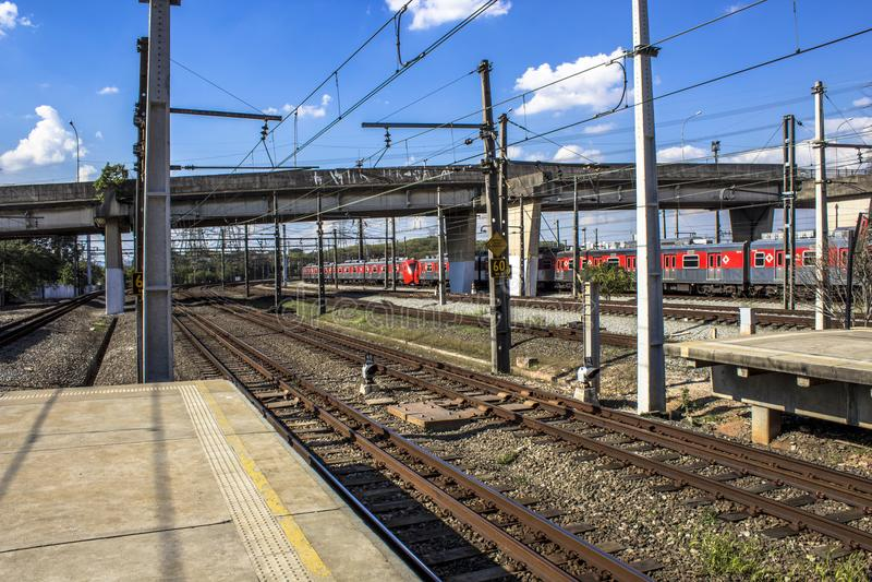 Platforma Sao Paulo metropolita pociągu firma fotografia stock
