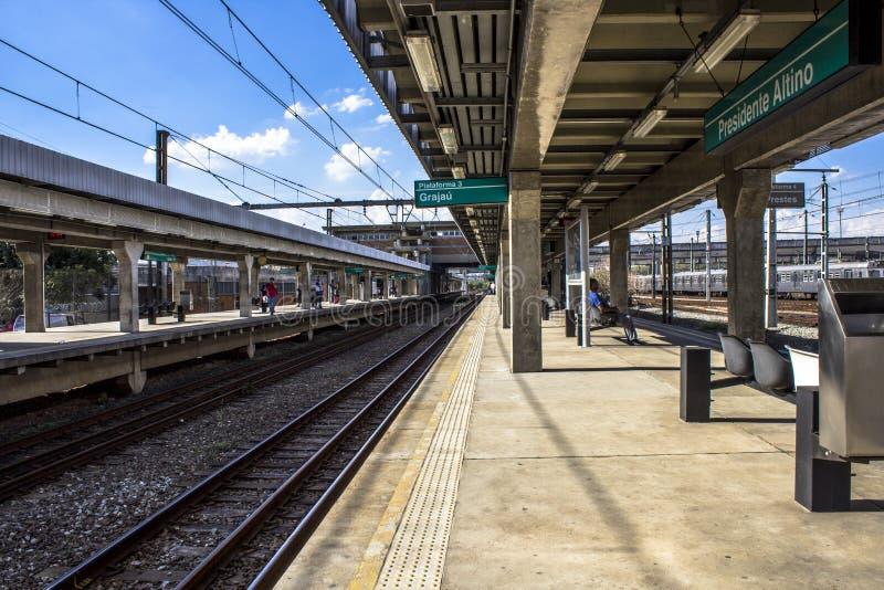 Platforma Sao Paulo metropolita pociągu firma fotografia royalty free