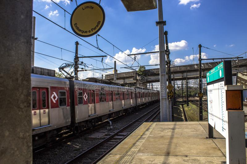 Platforma Sao Paulo metropolita pociągu firma zdjęcie stock