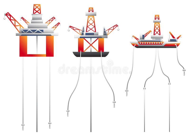 Platforma wiertnicza wektoru set ilustracji