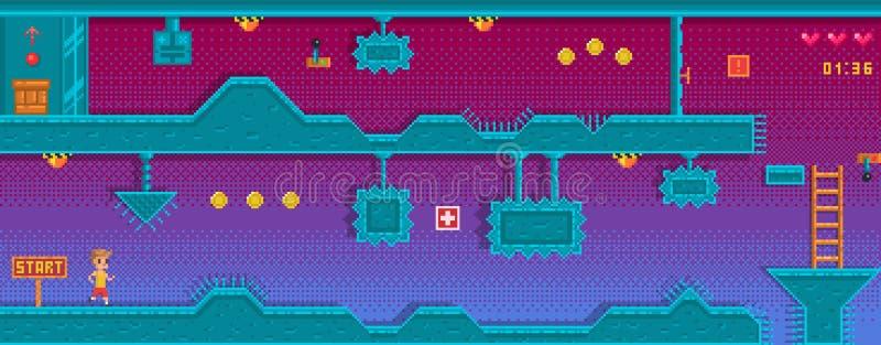 Platformer del pixel con diversa obstrucción Fondo para el uso del juego libre illustration