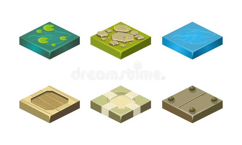 Platforms of different ground textures set, user interface assets for mobile app or video game vector Illustration on a stock illustration