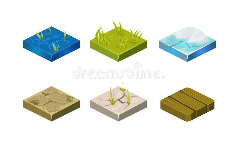 Platforms of different ground textures set, water, stone, ice, grass, wood, user interface assets for mobile app or royalty free illustration