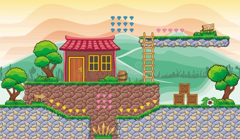 Platformspel tileset 8 stock illustratie