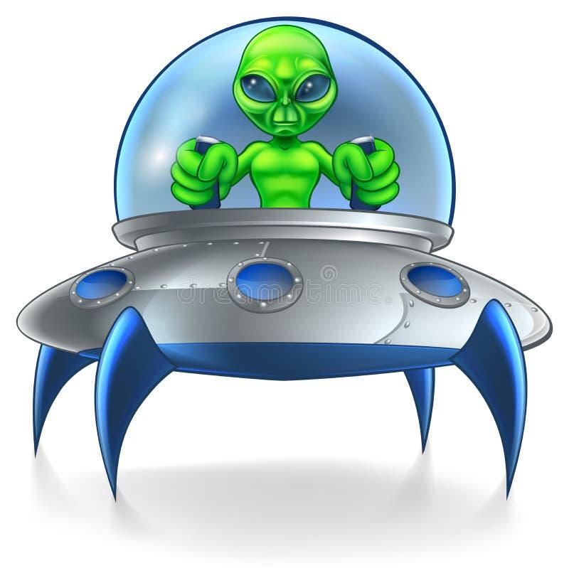 Platillo volante extranjero del UFO ilustración del vector