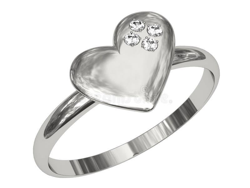 Platina of zilveren ring in de vorm van hart royalty-vrije stock foto