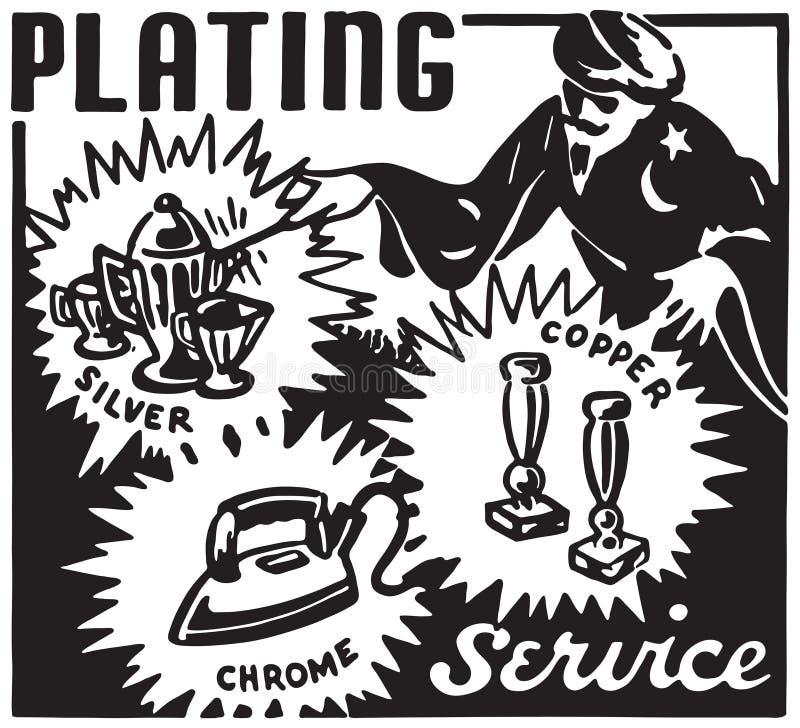 Plating Service. Retro Ad Art Banner royalty free illustration