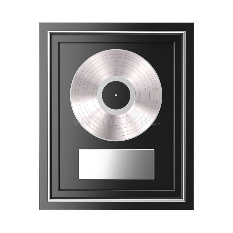 Platino o premio vinile o del premio d'argento del CD con l'etichetta nel telaio nero rappresentazione 3d illustrazione vettoriale