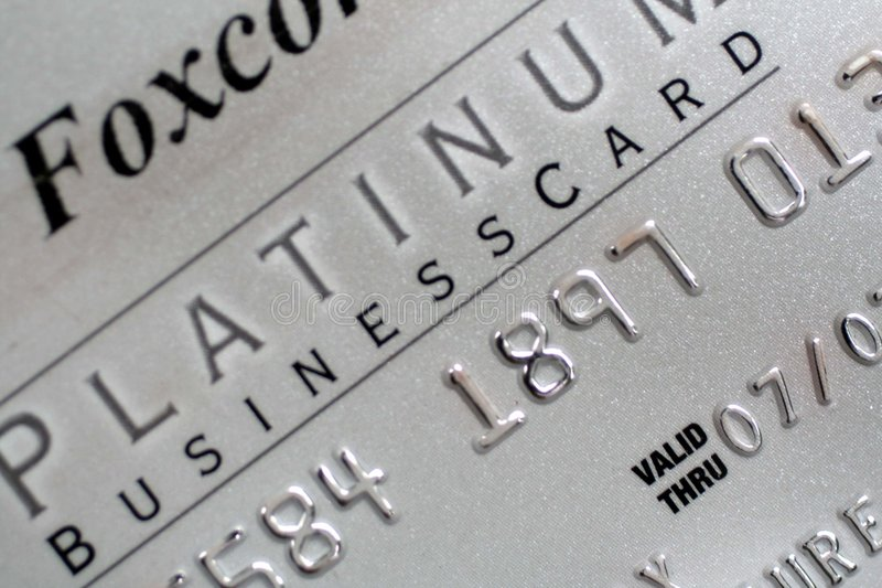 Platinum Business Credit Card. This is a close up of a platinum business credit card stock photography