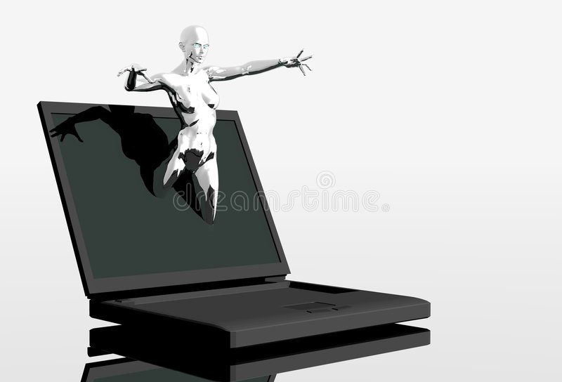 Download Platinum Girl Coming Out Of Screen Stock Illustration - Image: 1409355