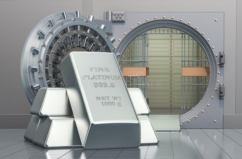 Platinum ingots with opened bank vault, 3D rendering. Platinum ingots with opened bank vault, 3D royalty free illustration