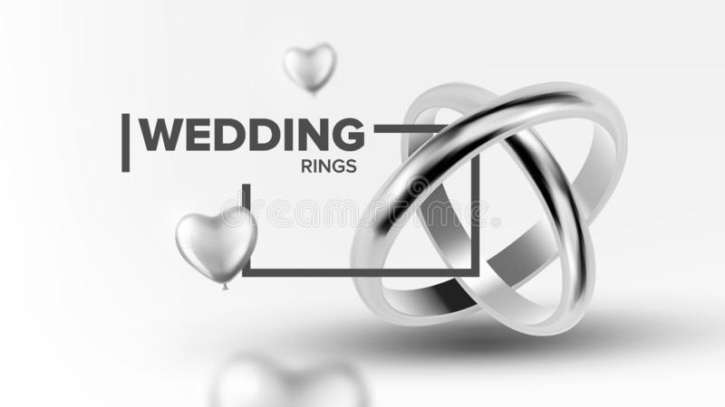 Platinum Jewelery Wedding Rings Banner Vector. Poster With Traditional Symbol Rings For Loving Marriage Couple Decorated Silver Helium Balloon. Luxury royalty free illustration