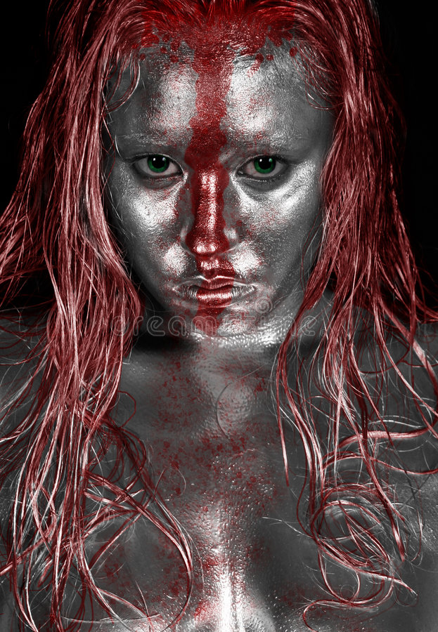 Platinum Red Streak. Ed Streaked Face - Silver Bodypainting with Red Paint