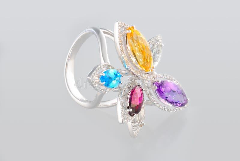Platinum ring with diamonds stock photography