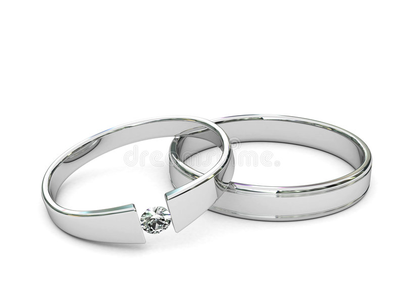 Platinum or silver rings with diamond. On white background. High resolution 3D image royalty free illustration