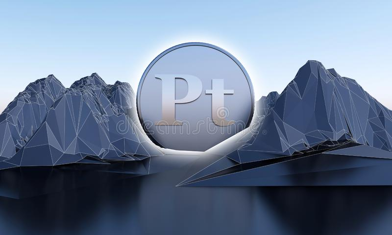 Platinum symbol in shape of coin in abstract mountains vector illustration
